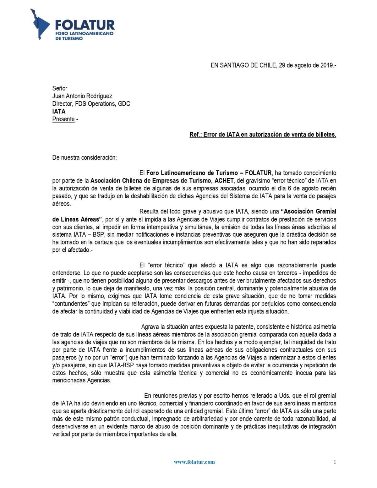 Carta de FOLATUR a IATA por 'error técnico