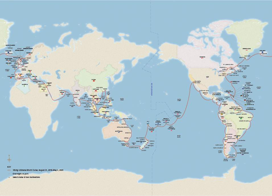 Itinerario mundial de Viking Sun