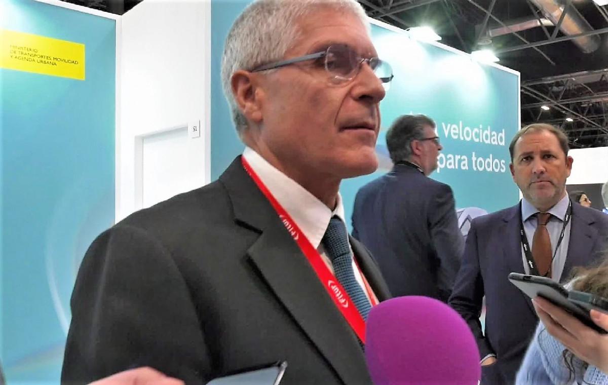 Isaías Táboas, presidente de Renfe, en el pabellón del Ministerio de Fomento en Fitur 2020.