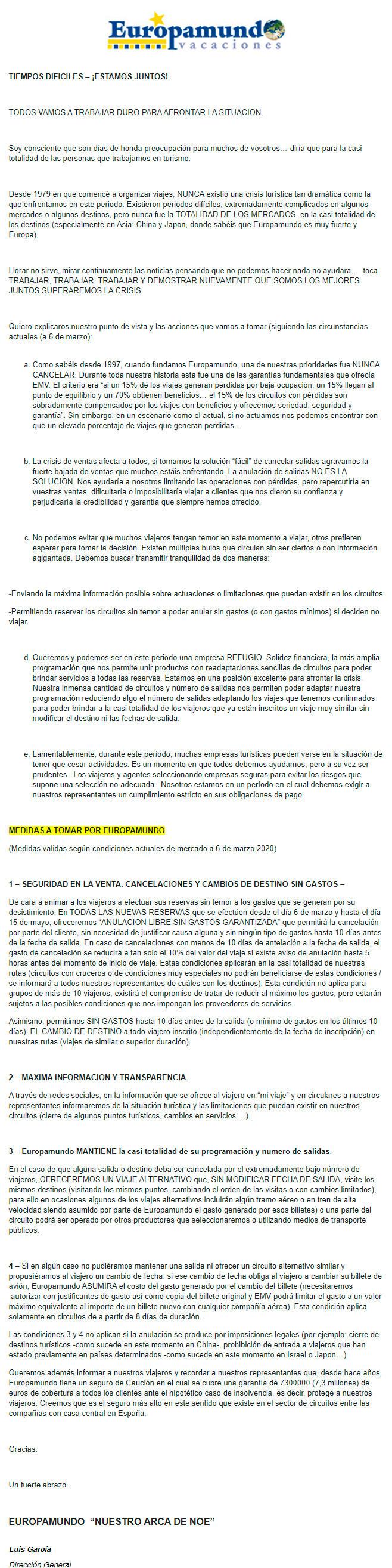 Carta del director general de Europamundo a los agentes de viajes