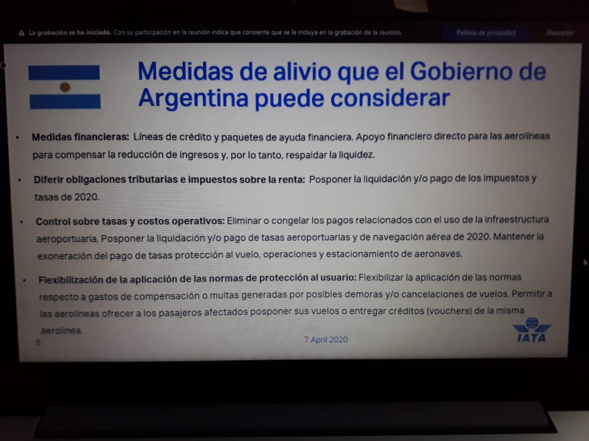 Medidas planteadas al gobierno argentino. Gráfico: IATA