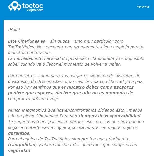 Texto de TocToc Viajes y 5M dirigido al público