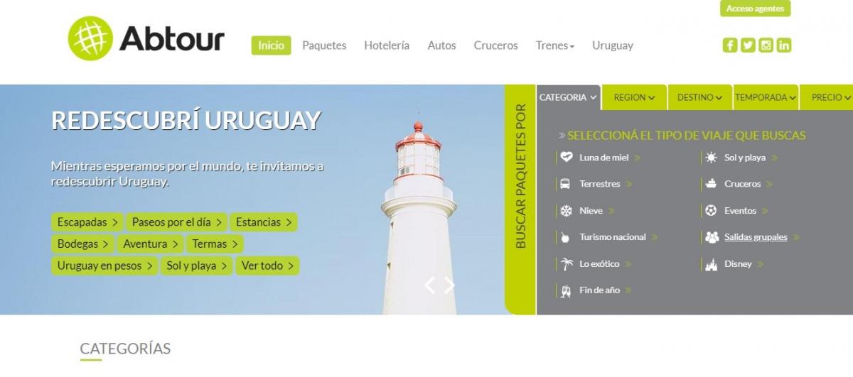 La web de ABTOUR dirigida al turismo en Uruguay
