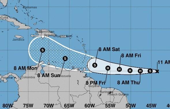 Posible trayectoria de Gonzalo según el Centro Nacional de Huracanes de EEUU