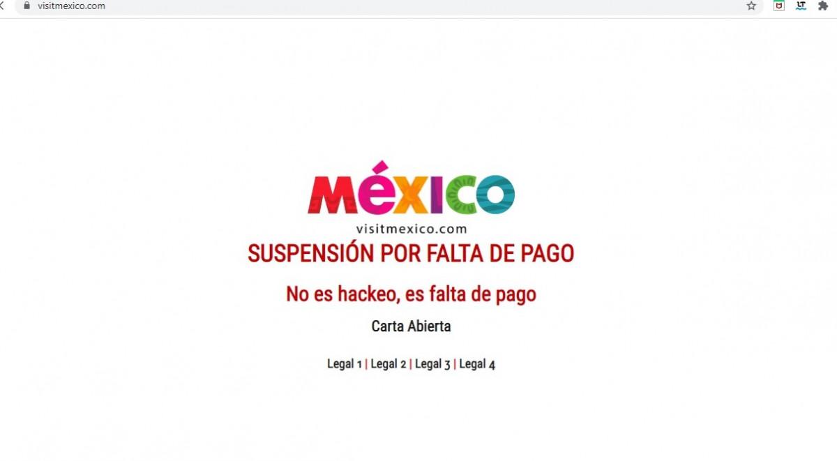 Este lunes 27 la web seguía intervenida por el proveedor