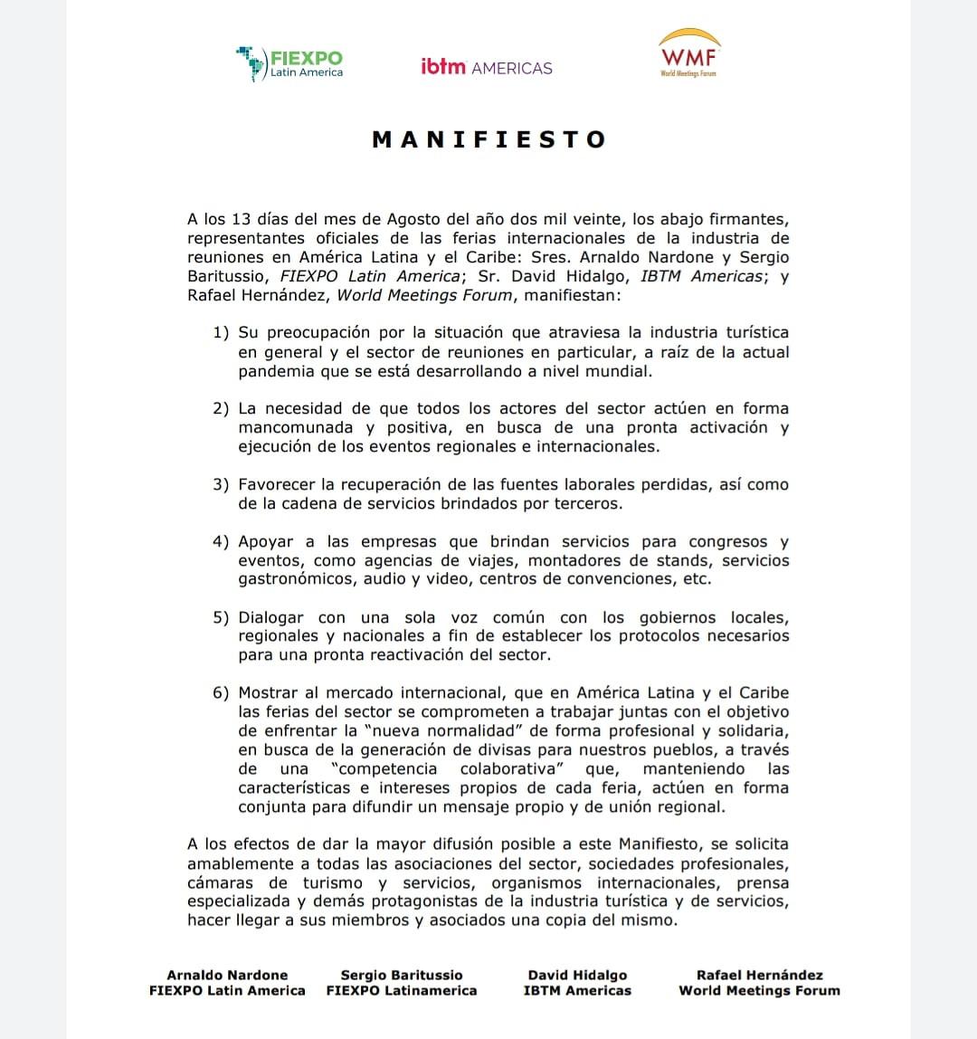 El manifiesto de FIEXPO, IBTM Americas y World Meetings Forum