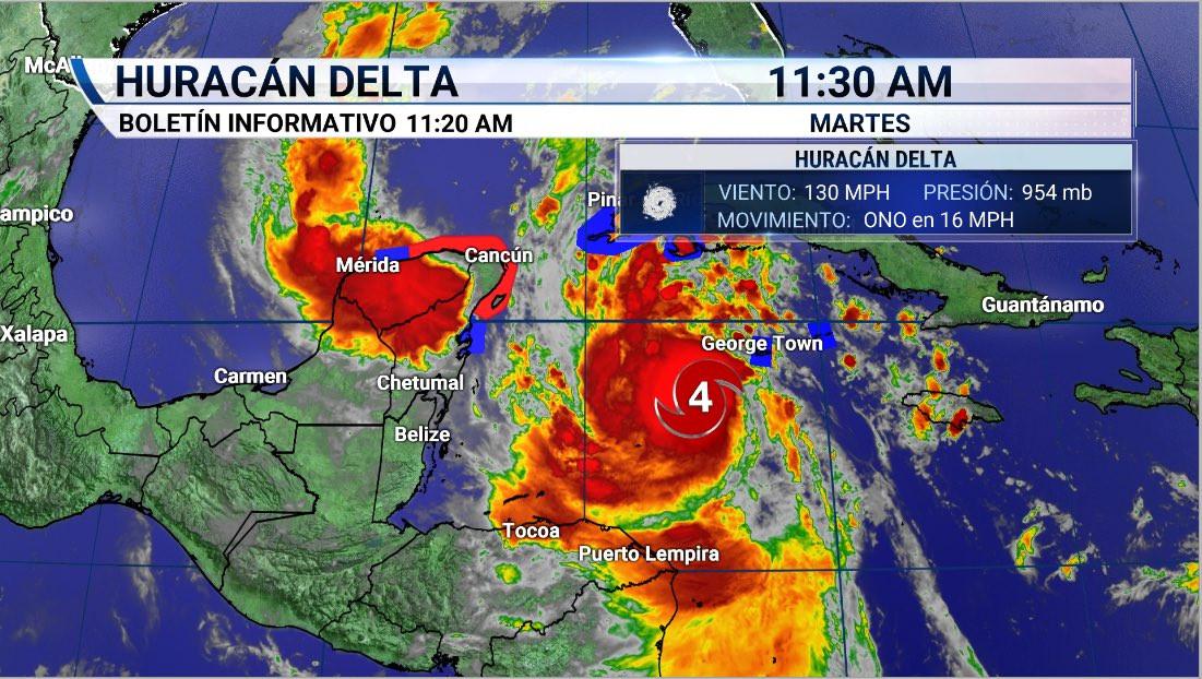 Pronóstico del huracán Delta al mediodia de este martes