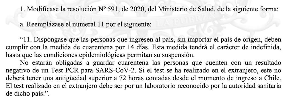 Extracto del Diario Oficial con la modificación de la reglamentación para los arribos desde el exterior