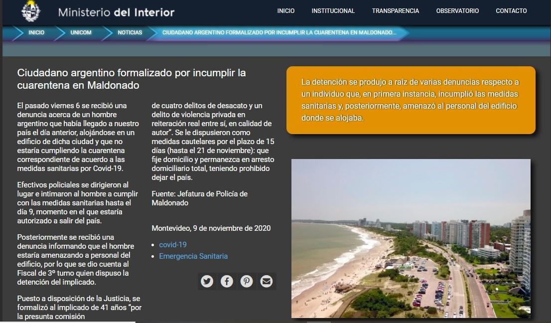 Información del Ministerio del Interior sobre incumplimiento de cuarentena, desacato y prisión domicilaria.