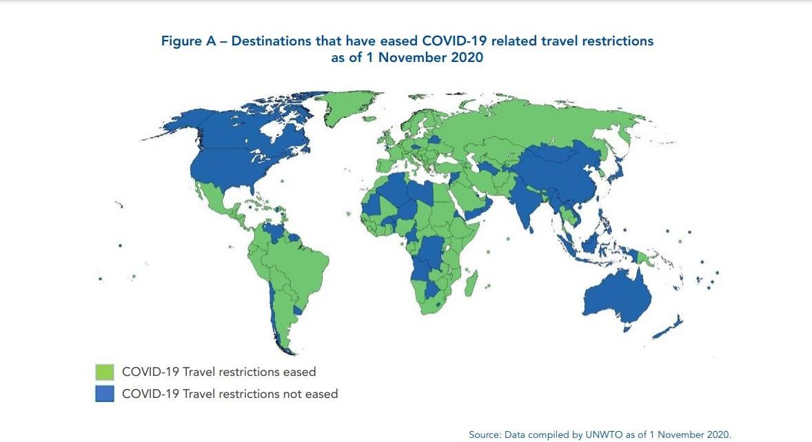 Mapa de restricciones (azul) y aperturas (verde) al 1° de noviembre. Gráfico: OMT