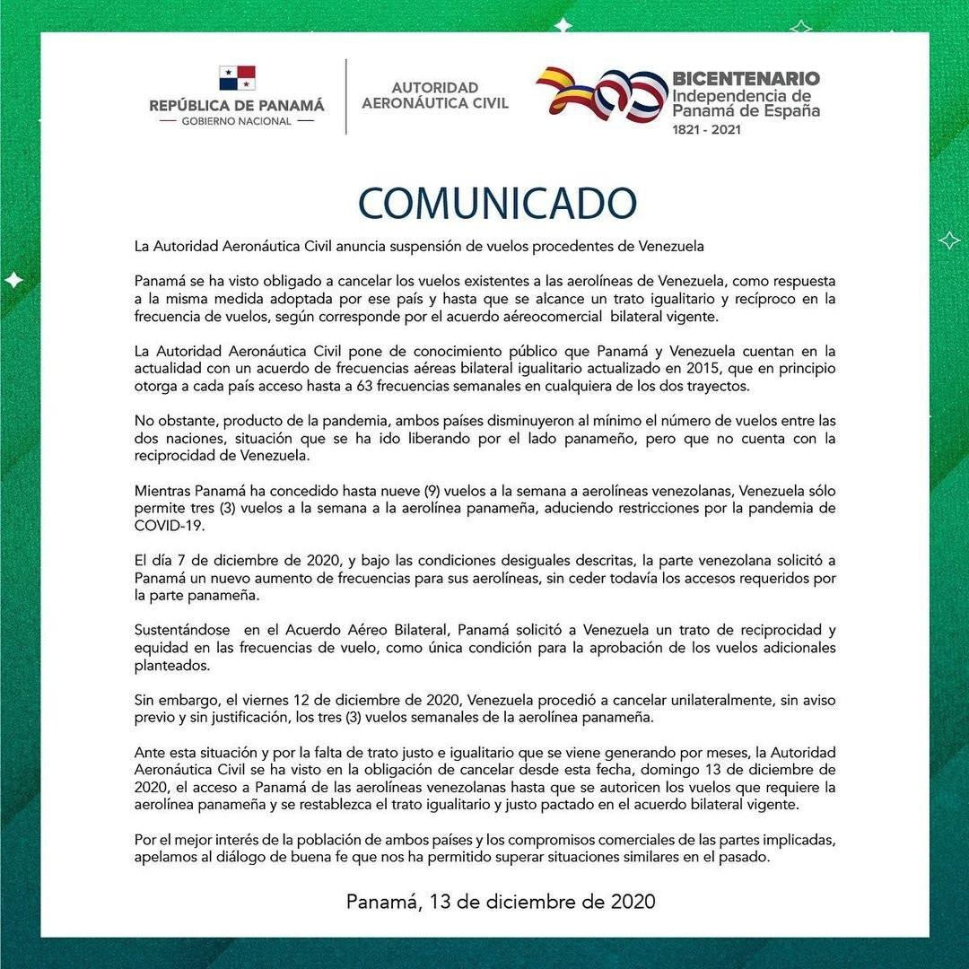 Comunicado de la Autoridad Aeronáutica Civil de Panamá