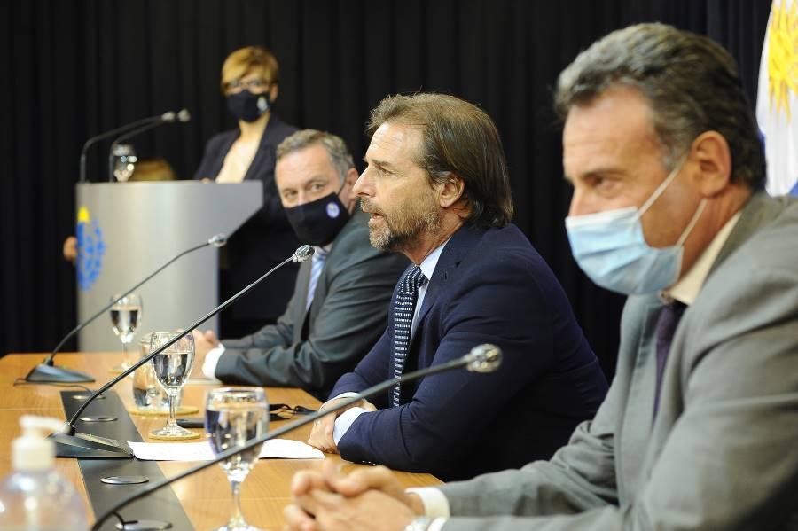 Luis Lacalle Pou en conferencia de prensa.