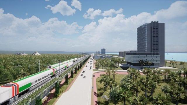 Proyecto del Tren Maya elevado, a nivel de segundo piso. Imagen: Sedena