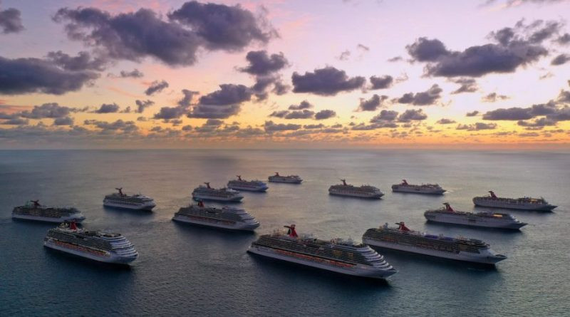 Flota de Carnival antes de la pandemia; la compañía ha vendido varios de los barcos.