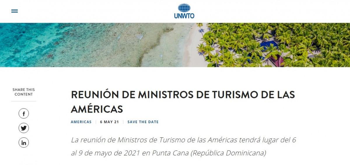 Invitación a la cumbre de ministros de la OMT en Punta Cana con la nueva fecha, 6 al 9 de mayo.
