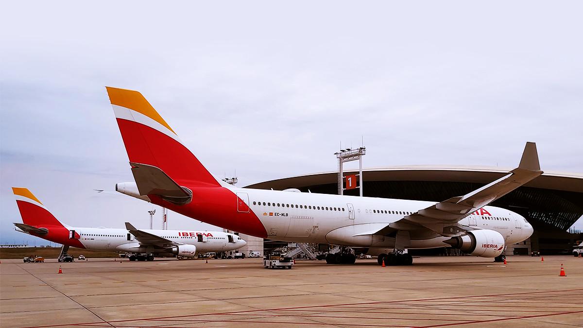 Aviones de Iberia en el Aeropuerto de Carrasco.