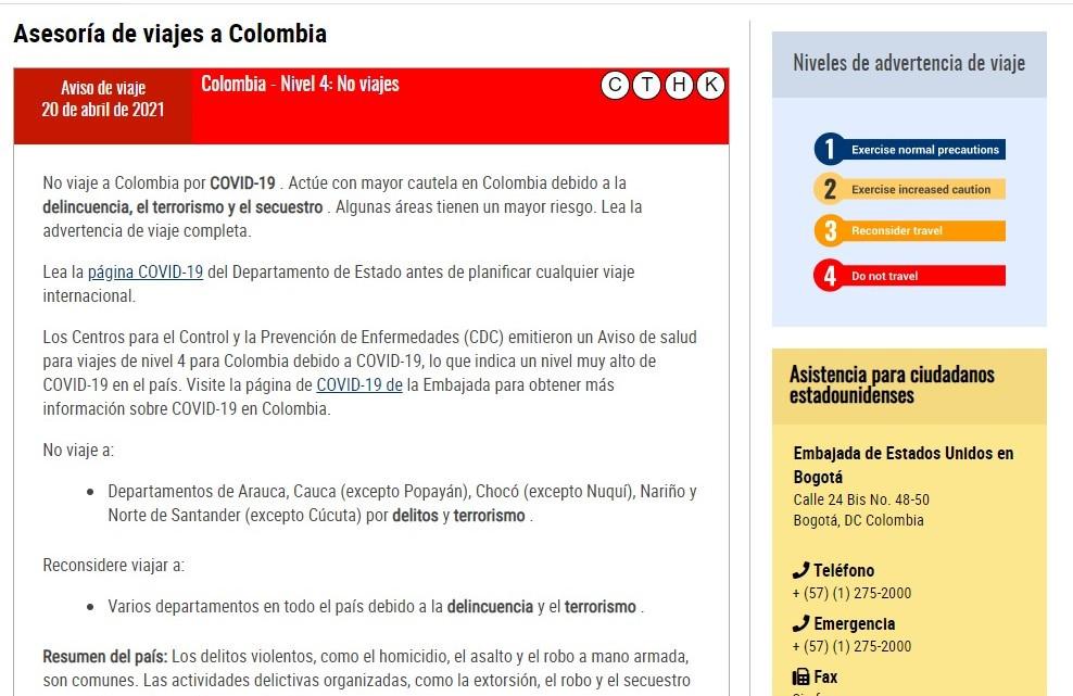 Colombia fue ascendido al Nivel 4, el de mayor riesgo, junto a Argentina, Brasil, Bolivia y Venezuela.