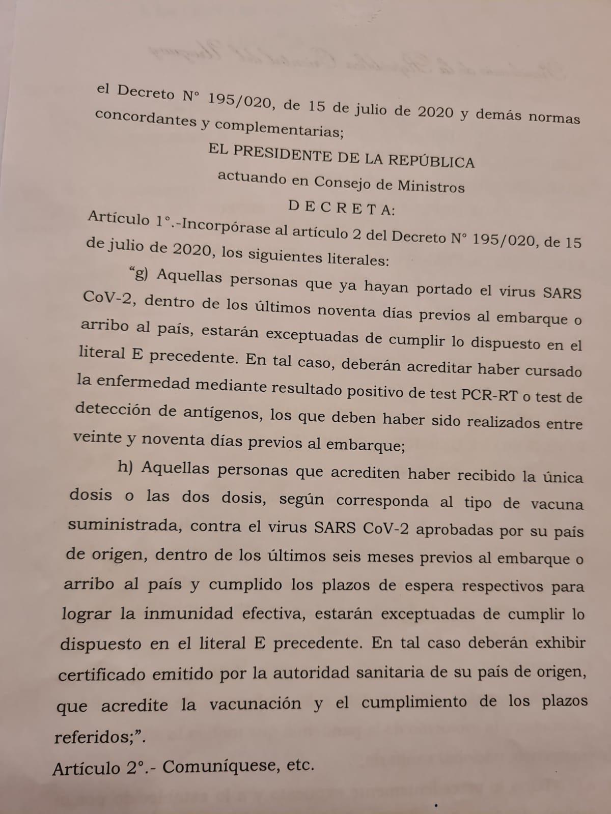 Decreto del Poder Ejecutivo aprobado este miércoles.