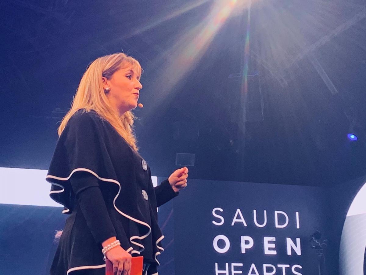 Gloria Guevara en el evento en que Arabia Saudita abrió sus fronteras al turismo en 2019, 'Open Hearts Open Doors