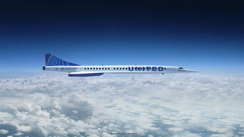 Modelo Overture de Boom Supersonic con livery de United. Imagen: United