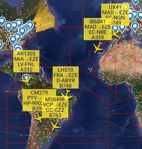 Cinco vuelos en viaje a Ezeiza con 955 pasajeros en la noche del viernes, según @