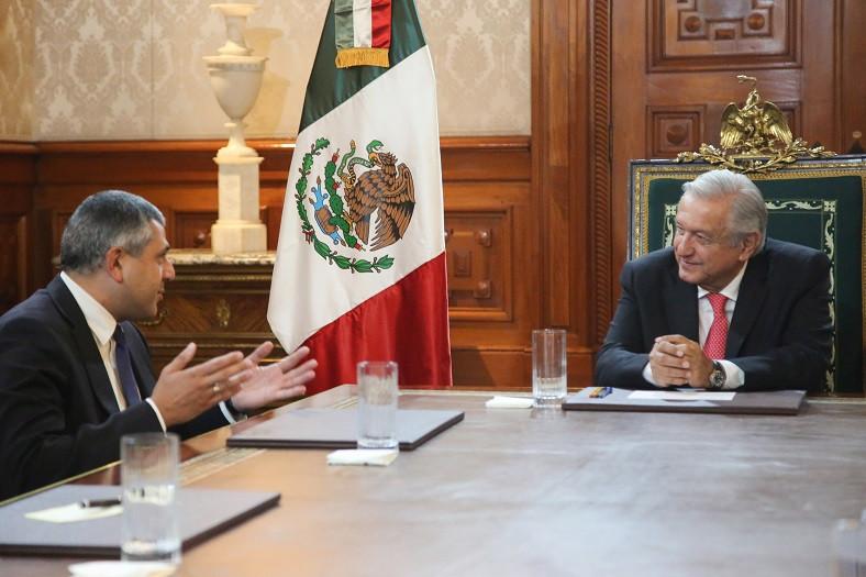 Zurab Pololikashvili junto al presidente de México, Andrés Manuel López Obrador. Foto: Presidencia de México