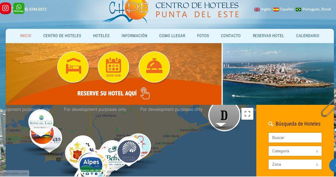 Web del Centro de Hoteles de Punta del Este.