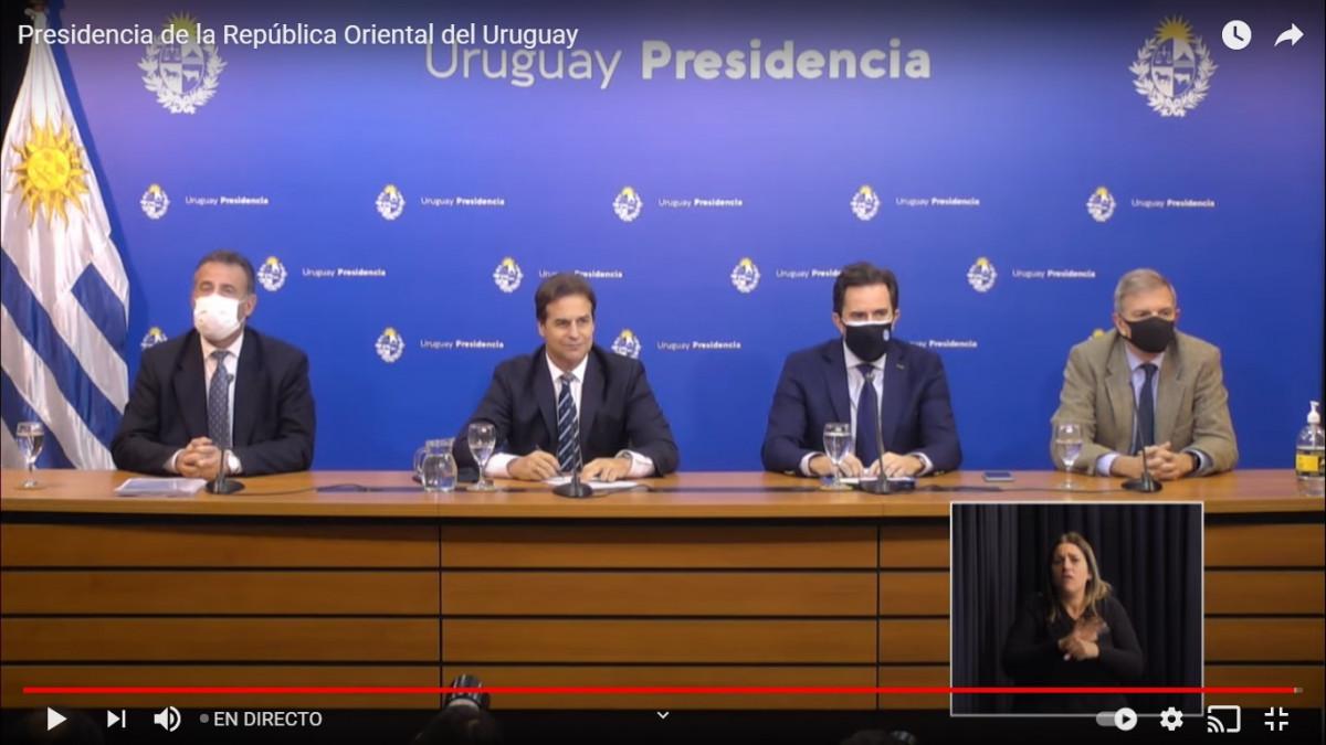 Conferencia de prensa del presidente Lacalle Pou y los ministros de Salud, Turismo y Relaciones Exteriores