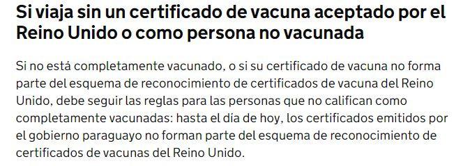 Extracto del comunicado oficial que informa la exclusión de Paraguay de la 'lista roja