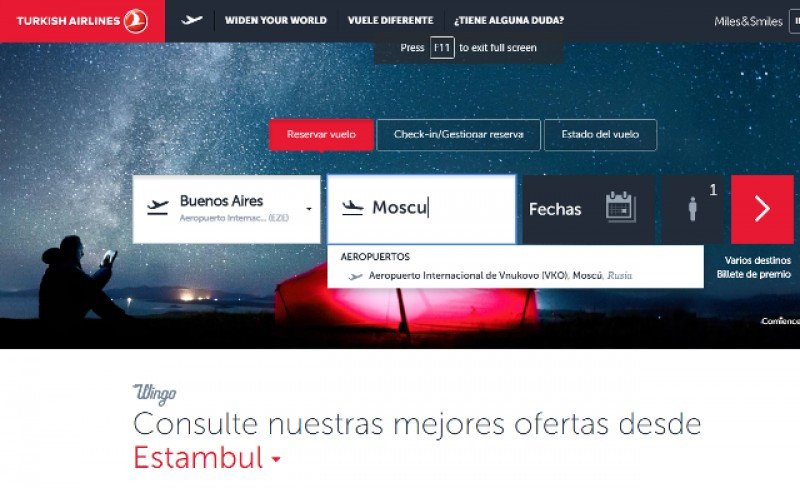 Turkish Airlines estrena nueva web en español
